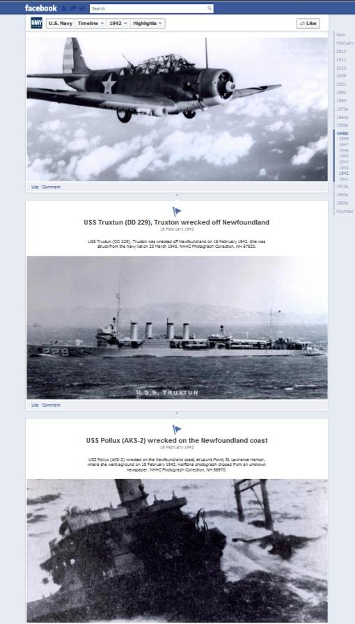 US Navy timeline